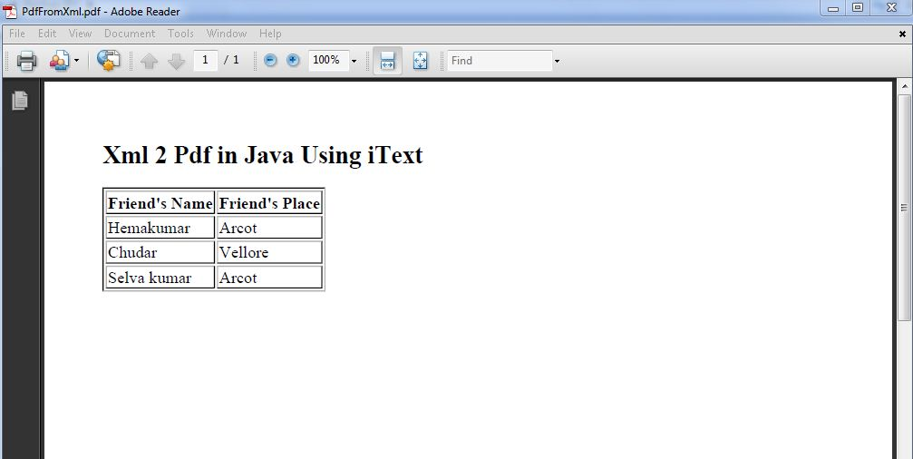 xml to pdf in java code